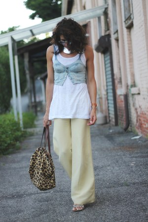 denim bralet asos top - light yellow Armani Exchange pants