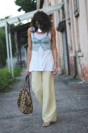 denim bralet asos top - light yellow Armani Exchange pants