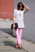 black Guess heels - silver polka dots H&M shirt - pink pants