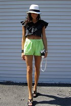 black and white calvin klein bag - chartreuse Forever 21 shorts - black Sofft we