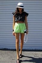 black and white calvin klein bag - chartreuse Forever 21 shorts - black Sofft we