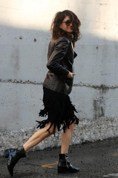 black fringe skirt - crimson leather Vintage Etienne Aigner jacket