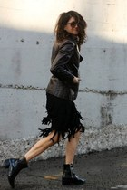 black fringe skirt - crimson leather Vintage Etienne Aigner jacket