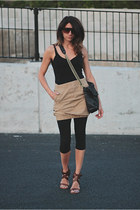 black unitard bodysuit - H&M skirt - Chloe heels