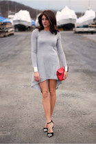heather gray dress - red bag - black heels - silver cuffs bracelet