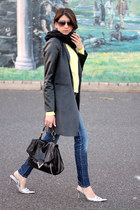 gray f21 jacket - light yellow f21 shirt - silver tano heels
