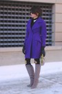 Heather-gray-brian-atwood-boots-deep-purple-christian-lacroix-coat