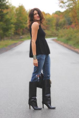 Manolo Blahnik boots - Elizabeth & James jeans - Zara shirt