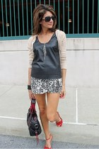 black leather tank Urban Outfitters shirt - nude banana republic cardigan