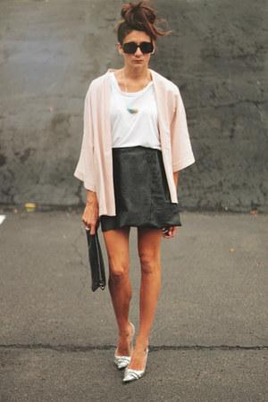 kimono asos jacket - leather vintage skirt