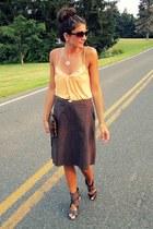 dark brown Fergie shoes - light orange shirt - dark brown French Connection skir