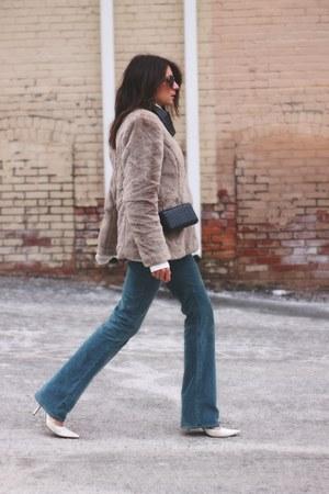 light brown Gap coat - sky blue 7 for all mankind jeans