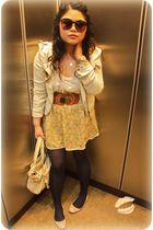 yellow floral Charlotte Russe skirt - beige ballet flats Zara shoes