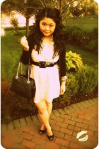 peach H&M dress - black kate spade bag - cream kate spade necklace