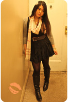 black H&M shirt - black Forever 21 accessories - pink Burberry scarf - brown Luc