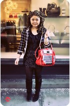black knit kimchi & blue jacket - red kate spade bag - black leather  knit H&M s