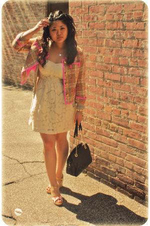 pink kate spade jacket - beige Forever 21 dress - gold kate spade shoes - black