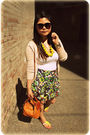 Green-armani-exchange-skirt-beige-zara-cardigan-brown-kate-spade-accessories
