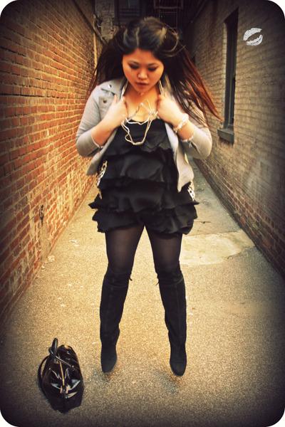 black H&M dress - silver  jacket - black Nine West boots - black kate spade acce