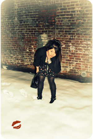 black Ellen Tracy blazer - black H&M skirt - black Steve Madden boots - black ka