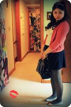 red ann taylor sweater - white Express shirt - blue Forever21 skirt - black kate