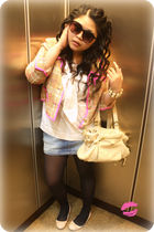 pink kate spade jacket - white Gryson accessories - white H&M blouse - blue Zara