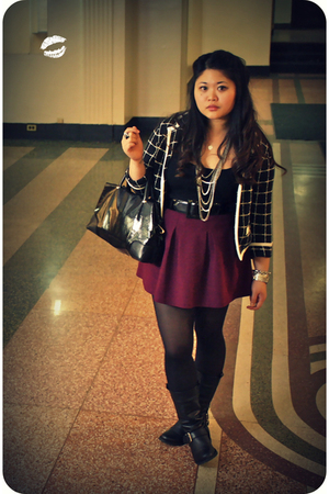 black Kimchi&amp;Blue blazer - black JCrew top - pink Theory skirt - black Steve Mad