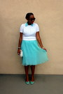 Light-blue-pleated-chiffon-vintage-dress-white-vintage-sweater