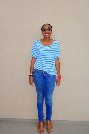 blue skinny H&M jeans - brown wayfarer H&M sunglasses - turquoise blue striped H