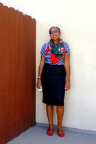 red floral print Perry Ellis scarf - black striped shirt - black pencil skirt