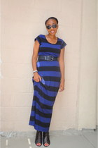 navy maxi dress H&M dress - black raffia Wet Seal belt - black lace-up material