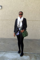black Gap blazer - black sweater Gap tights - white scarf - green H&M purse - bl