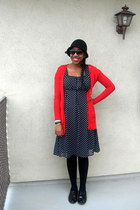 black polka dot merona dress - black cloche Urban Outfitters hat - black sweater