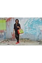 red Follie shoes - mesh icandy shirt - Hermes bag - black platinum vest