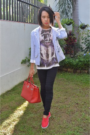 preppy Bayo blazer - black skinny Forever 21 jeans - graphic tee Topshop shirt
