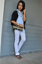 chambray top Copper top - plaid jeans CPS jeans - Accessorize bag