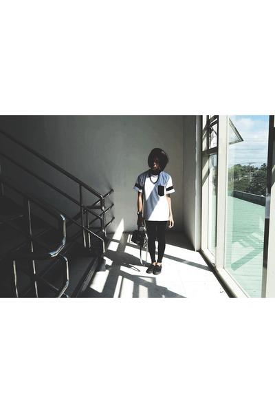 black Forever 21 leggings - black and white Dapper Look shirt - aint HK bag