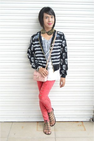 Circles en Dots jacket - Forever 21 jeans - Ten & Co shirt - Chanel bag