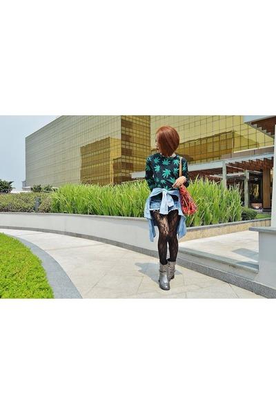 Fudge Rock sweater - gunmetal Terranova boots - lace Forever 21 tights