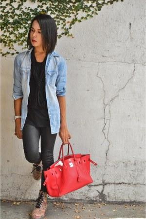 clear floral Pop culture boots - denim H&M jacket - Forever 21 leggings
