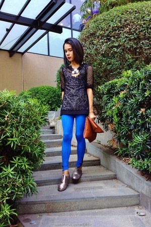 Topshop top - Zalora shoes - cobalt blue Wasteland leggings - mesh iCandy shirt