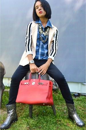 preppy blazer Bayo blazer - Terranova boots - black jeans Forever 21 jeans