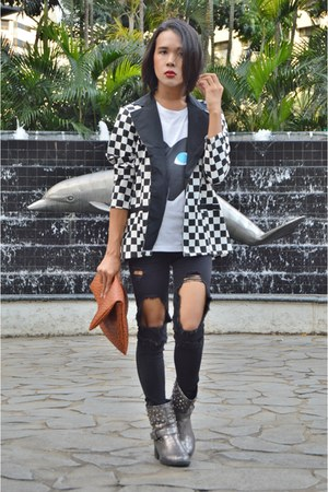black and white Pill blazer - Terranova boots - ultra ripped Forever 21 jacket