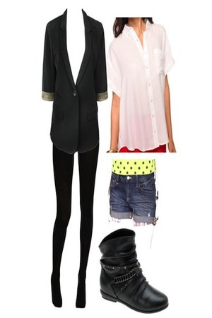 Aldo boots - Forever 21 blazer - Local store tights - Forever 21 shorts - Foreve