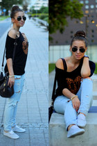 H&M sunglasses - H&M blouse - H&M belt