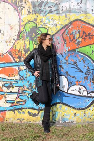 H&M jacket - Schutz boots - Forever 21 shirt - H&M bag - Forever 21 top