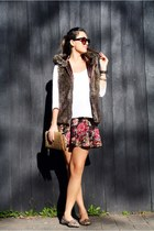 Zara sunglasses - Forever 21 skirt - Zara t-shirt - Saks Fifth avenue vest