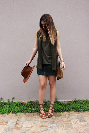Zara shoes - Zara purse - Zara top - Forever 21 skirt - Ralph Lauren vest