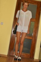 white Forever 21 shirt - black asos bag - white Bershka shorts