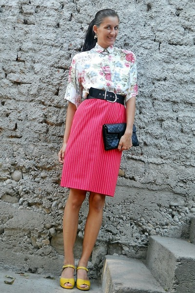 Rick Owens shirt - black Zara bag - red vinateg skirt - yellow sandals